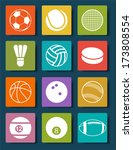 sports balls icons set. vector... | Shutterstock .eps vector #173808554