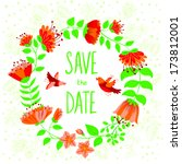 floral wedding invitation card | Shutterstock .eps vector #173812001