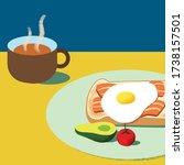 wholesome breakfast toast... | Shutterstock .eps vector #1738157501