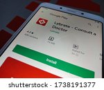 District Katni, Madhya Pradesh, India - May 05, 2020: Lybrate consult a doctor latest iso apps displayed on google play portal at isolated gadget.  - stock photo