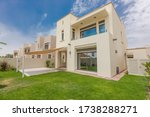 Small photo of Dubai / United Arab Emirates - 04-05-2020 : Villa: Exterior of a landscaped independent Villa/ House in Arabian ranches community in Dubai