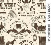 cowboy club seamless pattern ... | Shutterstock .eps vector #1738318304