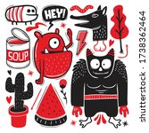 funny monster icons hand drawn... | Shutterstock .eps vector #1738362464
