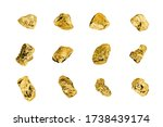 Golden Stones Set On White...