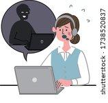 woman worker  laptop computer... | Shutterstock .eps vector #1738520837