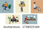people stay at home. work from...   Shutterstock .eps vector #1738525184