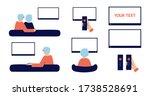 happy senior couple sitting on... | Shutterstock .eps vector #1738528691