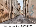 Narrow Dark Alley In The Old...