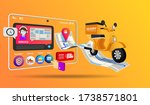 online shopping with motorcycle ... | Shutterstock .eps vector #1738571801