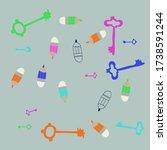 doodle keys and pencils. hand... | Shutterstock . vector #1738591244