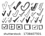 set of different sketched check ... | Shutterstock .eps vector #1738607501