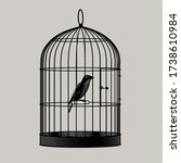 bird sitting inside a cage.... | Shutterstock . vector #1738610984