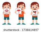 happy cute kid boy body part... | Shutterstock .eps vector #1738614857