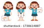 happy cute kid girl body part... | Shutterstock .eps vector #1738614887