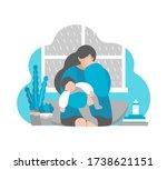 vector flat concept. tired... | Shutterstock .eps vector #1738621151