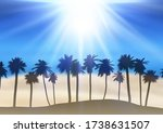 summer landscape with palm tree ...   Shutterstock .eps vector #1738631507