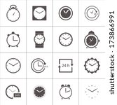 vector set of gray clocks icons ... | Shutterstock .eps vector #173866991