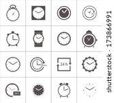 vector set of gray clocks icons ... | Shutterstock .eps vector #173866991