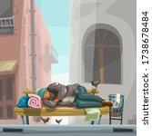 homeless sleeping on city bench | Shutterstock .eps vector #1738678484