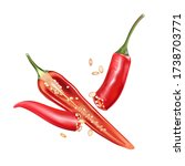 red chili pepper slice with...   Shutterstock .eps vector #1738703771