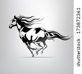 Stock vector vector silhouette of a running horse 173872361
