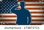 US Army soldier saluting on grunge american flag background vector (for Independence Day and Veteran's Day designs)
