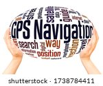 Gps Navigation Word Hand Spher...