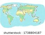 hand drawn watercolor world map    Shutterstock . vector #1738804187