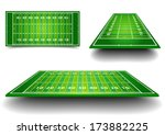 detailed illustration of an American Football fields with different perspective, eps10 vector - stock vector