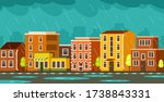 street with low rise houses....   Shutterstock .eps vector #1738843331