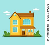 cute private house design for... | Shutterstock .eps vector #1738859201