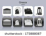 landmarks of greece. set of...   Shutterstock .eps vector #173888087