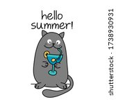 hello summer text with cute cat ... | Shutterstock .eps vector #1738930931