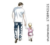 father and daughter  baby go... | Shutterstock .eps vector #1738942121