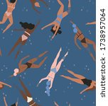 Seamless Pattern With Swimmers. ...