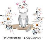 A Beautiful  Graceful Cat Sits...