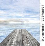 wooden pier on sunny day with... | Shutterstock . vector #173908937