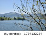 lakeview panorama at the Sihlsee in Switzerland 18.5.2020
