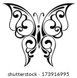 beautiful black butterfly | Shutterstock .eps vector #173916995