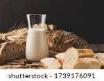 Milk In A Glass Bottle Placed...