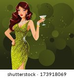 beautiful woman with martini... | Shutterstock . vector #173918069