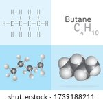 butane  c4h10  gas molecule.... | Shutterstock .eps vector #1739188211