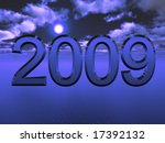 blue 3d 2009 against sky water... | Shutterstock . vector #17392132