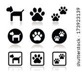 Dog  Paw Prints Vector Icons Set
