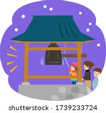 people ringing temple bell on... | Shutterstock .eps vector #1739233724