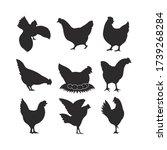 silhouette of hen chicken set.    Shutterstock .eps vector #1739268284