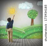 young child draws a green... | Shutterstock . vector #173934185