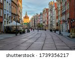 Gdansk, Poland view of the old city full of historic tenements and other architectural objects