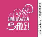 cute cartoon ghost is scaring... | Shutterstock .eps vector #1739370971