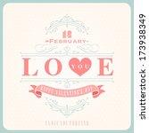 happy valentine's day hand... | Shutterstock .eps vector #173938349